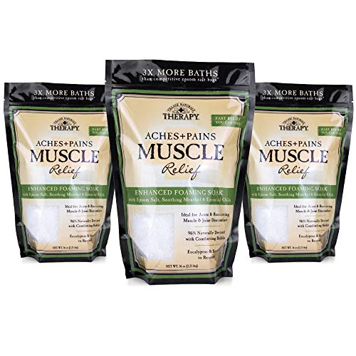 Village Naturals Therapy, Foaming Epsom Soak, Aches & Pains Muscle Relief, 36 oz, Pack of 3