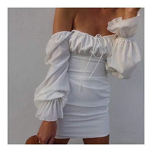 BZH - Vestido de fiesta con cuello cuadrado especial para fiesta o fiesta, manga de farol, elegante vestido de fiesta de jardín (color: blanco, tamaño: pequeño)