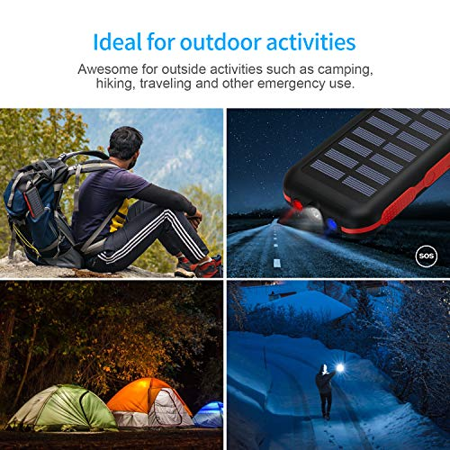 Portable Solar Charger 25000mAh Solar Power Bank 2 Input 3 USB Output External Battery Pack with LED Flashlight SOS Warning Lamp Water-Resistant for Outdoor Camping for Android Smartphone Tablets