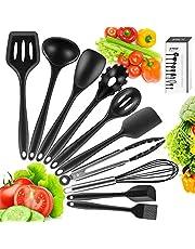 Newdora Utensilios de Cocina de Silicona Resistentes al Calor, 10 Piezas Herramientas antiadherentes para Hornear en la Cocina, Negro