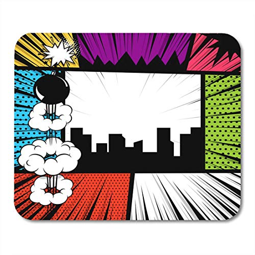 Muismat Pop Comics boekmagazijn Cartoon Grappige Vintage Strip tekst Speech Bubble ballon Box bericht Burst Bomb Mouse Pad