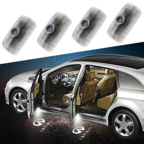 Aukur Easy Installation Infiniti Car LED Door Logo Projector Ghost Shadow Lights, Wireless No Drill Type Led Courtesy Step Lights, CAN-bus No Error 4-pc SetProduct Name