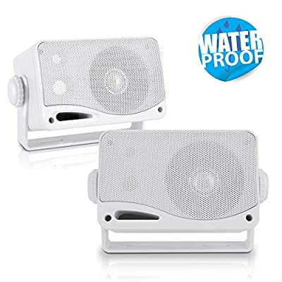 Pyle PLMR24 200W 3-Way Weather Proof Marine Mini Box Speaker System Pair White - 3.5 inch by Pyle