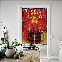 26歳の誕生日のデコレーション 暖簾 目隠し 風景 のれん 幅85cm×丈150cm チョコレートケーキキャンドルとリボンのサプライズの願い画像 麻風グリーン無地和風高級 のれん 目隠しロング暖簾 多色