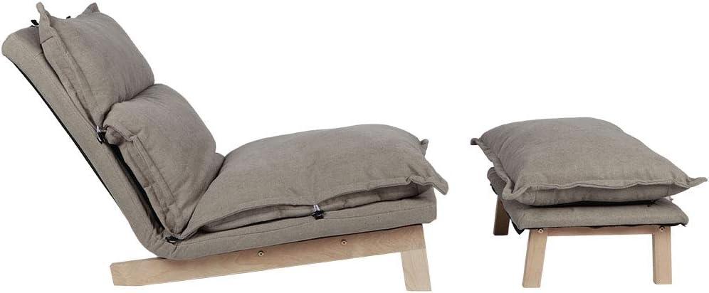 NATRUSS Fauteuil inclinable Moderne en Bois de hêtre et Tissu et éponge à Plusieurs Fins Souples pour Le Salon à la Maison(Yellow) Gray