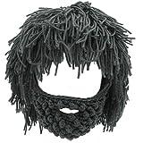 Lerben Men Women Knit Bearded Hats Handmade Wig Winter Warm Ski Mask Beanie (Gray)