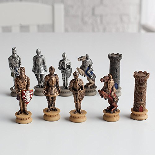 World Wise Medieval Times Armored Knights Painted Resin Chess Pieces