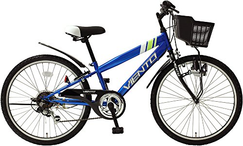 子供用自転車 24インチ ジュニアマウンテンバイク CTB シマノ6段変速ギア カゴ 鍵 ライト 泥除け チェーンカバー付き シティサイクル キッズバイク TOPONE