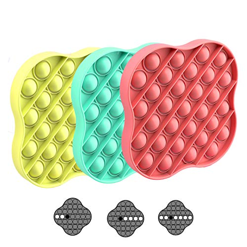 Push Pop Bubble Fidget Sensory Toys 3pcs Figetget Toys Pack | Stress Toys Anxiety Relief Toys for Kids and Family | Silicone Square Poppits Fidgets Toy – Colorful Lightweight Travel Friendly