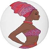 W-WEE Tappeto Rotondo Tappeto Tappeto, Donna Africana, Bella Donna zulù con Abito Sexy Fasciatura Collana Femminile, Cioccolato Corallo Scuro Viola