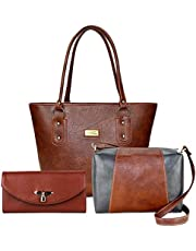 Flora PU Leather Women's Handbag with Sling Bag and Hand Clutch Combo of 3