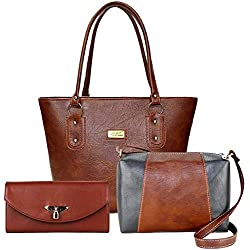 Flora Premium PU Leather Womens Handbag With Sling Bag And Hand Clutch Combo Of 3 (Tan_FLORA-146)