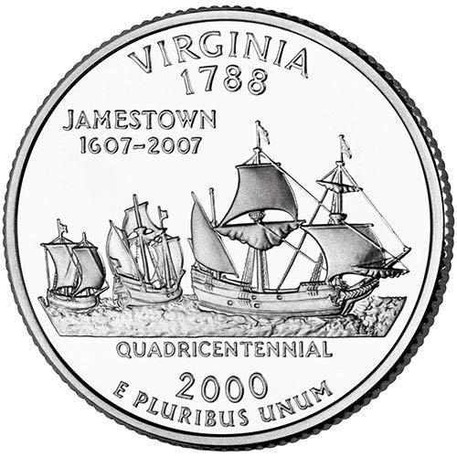 2000 D BU Virginia State Quarter Choice Uncirculated US Mint