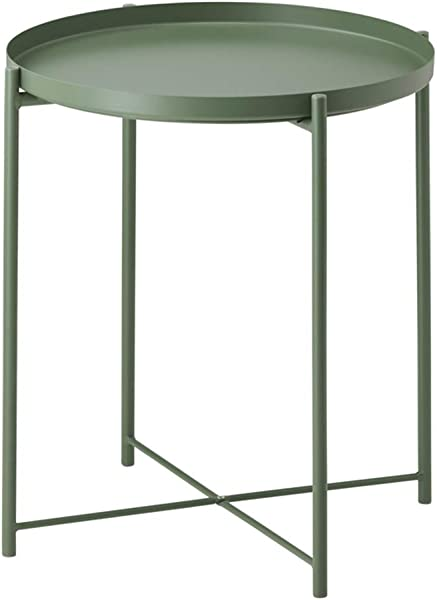 Side Table Tray Metal End Table Round Foldable Accent Coffee Table For Living Room Bedroom 17 3 20 5 M Dark Green