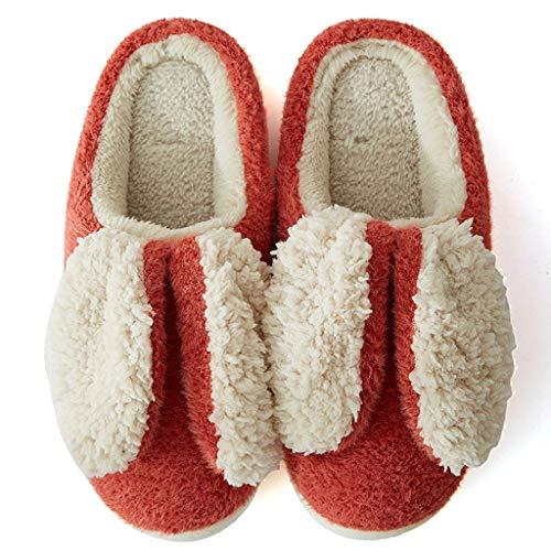 UXZDX Zapatillas De Felpa para Mujer, Zapatos Cálidos De Invierno, Bonitos Deslizamientos, Cómodos para El Hogar, Dormitorio Interior, Señoras, Niñas, Piel, Diapositivas (Color : Red, Size : 40-41)