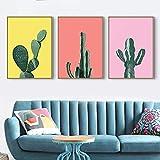 Pintura nórdica en lienzo, impresiones modernas, carteles artísticos de cactus en color, impresiones artísticas contratadas, cuadros de pared, póster para sala de estar, 50x70cmx3, sin marco