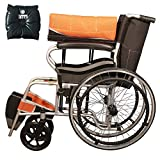 Ryder Wheelchair Foldable light weight Wheelchair with Seat Belt - Orange