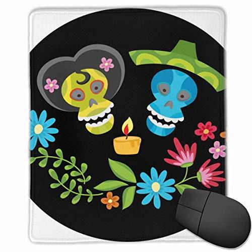 Mauspad Poster bunte Schädel Kerze Blumenkranz Mittelgeschwindigkeit Soft Gaming Mausmatte