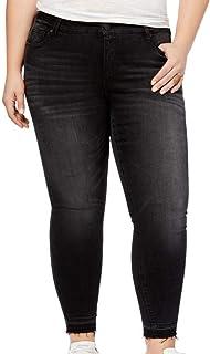 2c9765892b8 Celebrity Pink Womens Plus Faded Raw Hem Ankle Jeans Black 18