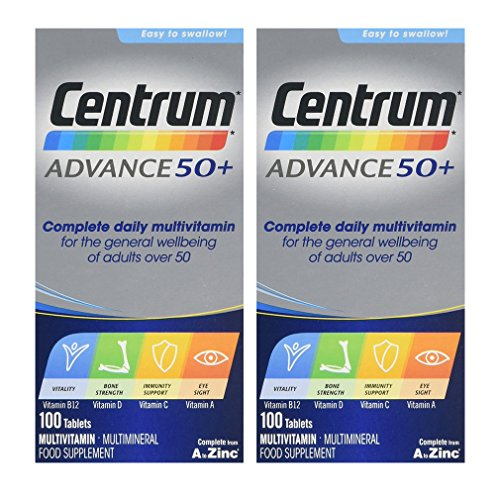 2 Packs Of Centrum Advance 50 Plus - 100 tablets = TOTAL 200 Tablets