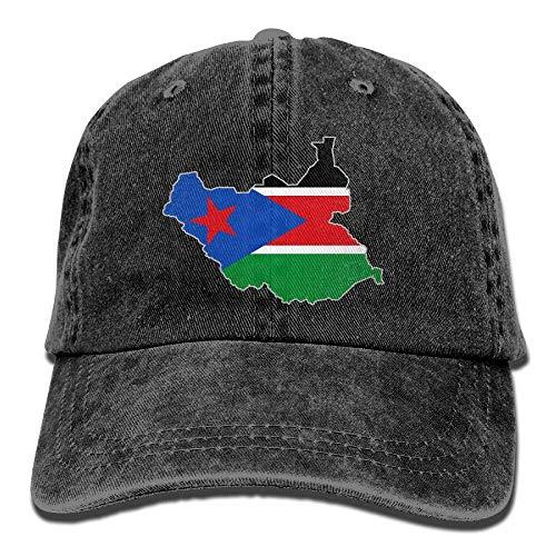 Ahdyr Gorra de béisbol Unisex Gorra de Mezclilla teñida en Hilo Mapa de la Bandera de Sudán del Sur Gorra de Hip Hop con Snapback Ajustable-Negro