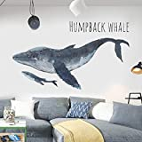Humpback Whale Wall Decals Marine Animal Stickers Peel and Stick Art Mural Decor for Home Office Dorm Party Nursery