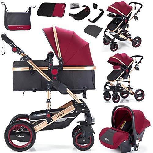 Daliya Bambimo 3 in 1 Kinderwagen - Kombikinderwagen Riesenset 15-Teilig incl. Babywanne & Buggy & Auto-Babyschale - Alu-Rahmen/Voll-Gummireifen - Wickeltasche/Regenschutz/Kindertisch in Bordeaux-Rot