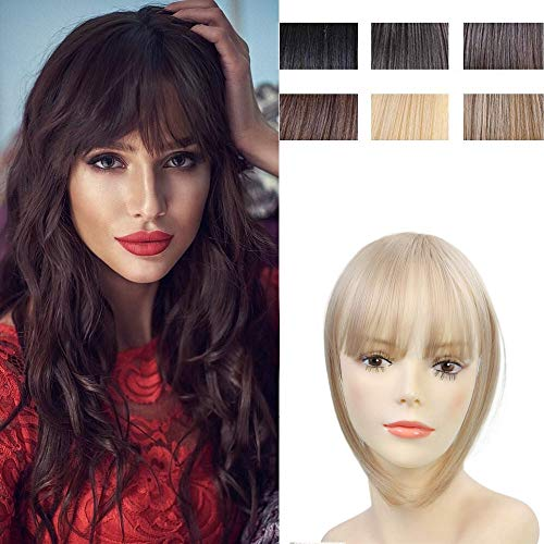Clip in Hair Bangs Fringe Bangs Hair Extensions Straight Clip on Bangs with Temple Hairpieces...