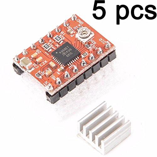 Lonfener 5 PCS EEN 4988 Stepstick stappenmotordriver module + koellichaam voor 3d printer Reprap Pack (5 st.)