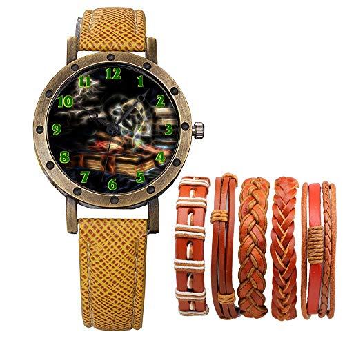 Meisjes Merk Retro Brons Vintage Lederen Band Dames Meisje Quartz Horloge Armband 6 Sets Abstract Bloemen 399.Meisje, Draak, Elf, Skeleton, Boeken