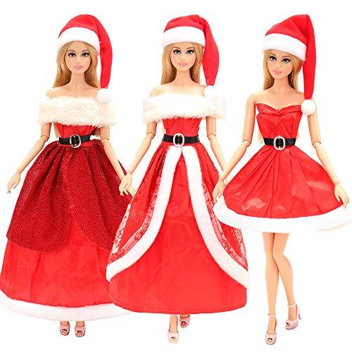 Miunana 3 PCS Vestido Fashion Falda Ropas De Papá Noel Regalo para 11.5 Pulgadas 28 - 30 CM Muñeca