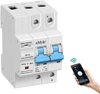 Disyuntor Inteligente WiFi 63A - Interruptor de circuito 2P con función de de temporización y retardo, Interruptor de control remoto inalámbrico Funciona para Amazon Alexa y Google home