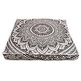 Janki Creation Funda de cojín de suelo cuadrado indio, diseño de mandala de pavo real, tamaño grande, ideal para exteriores, estilo hippie, ideal para decoración boho, solo es una funda