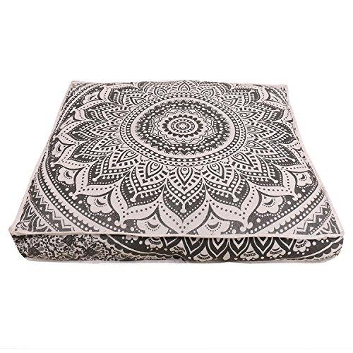Janki Creation Indian Square Floor Cushion Cover Peacock Boho Mandala Ottoman Pillow Shams...