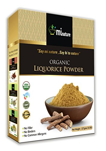 mi nature USDA Certified Organic Licorice Powder (Glycyrrhiza glabra/Liquorice/Mulethi) – 227g (8 Oz), Herbal Supplement for Respiratory Problems   Natural Supplement for Immunity Support