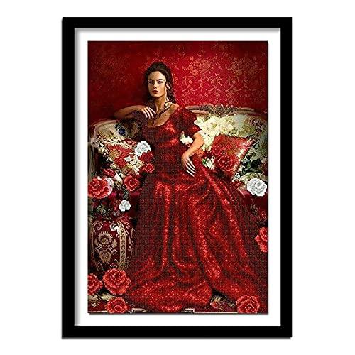 Xevkkf 5D DIY Pintura de Diamante Completo Mujer roja Bordado de Diamantes Regalo Pintura de Punto de Cruz decoración de la Vida 40x60cm