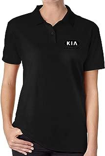 FengZe New Designed T Shirt KIA_Motors Logo Black Funny Polo Shirt O-Neck for Woman Black