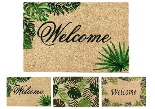 TIENDA EURASIA® Felpudos Entrada Casa Originales Tropicales - Material : Fibra de Coco con Base Antideslizante de PVC - Medidas : 40x60 cm (Tropical 3)
