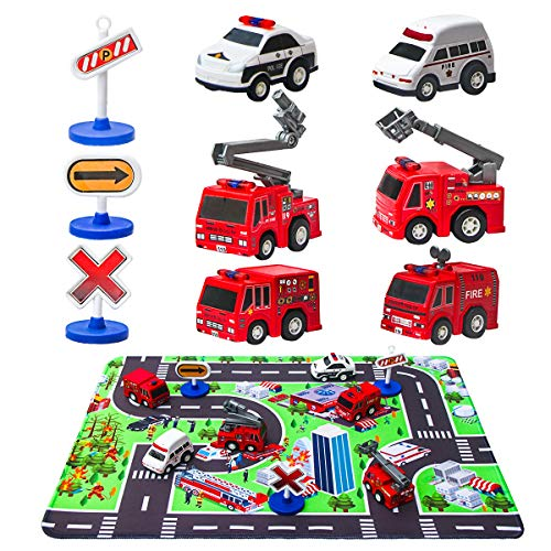 Fire Truck Toys with Play Mat, 6 Fire Engines, 3 Road Signs, 14' x 18' Fire Rescue Playmat, Mini Pull Back Car Toys for 2 3 4 5 Year Old Boy Toddlers