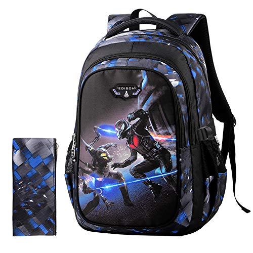 GHDE& Schule Rucksack Tasche für Jungen Mädchen Kinder Schulrucksäcke mit Mehreren Taschen, Lässiger Tagesrucksack für Studenten für Alter 7-15,D,M