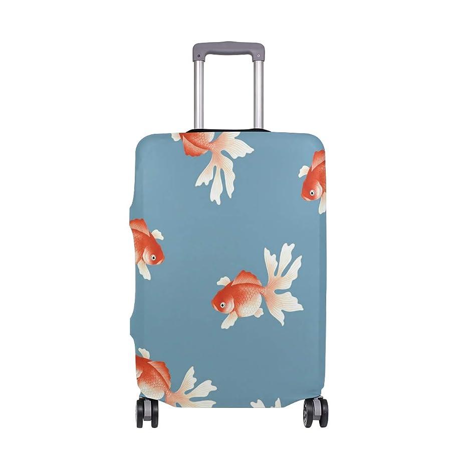 聡明彼女自身誘導GORIRA スーツケース ラゲッジカバー 金魚 和式 ブルー 伸縮素材 キズから保護 防塵 紛失防止 着脱簡単 おしゃれ 可愛い 収納便利 撥水加工 トランクカバー キャリーカバー 旅行 海外