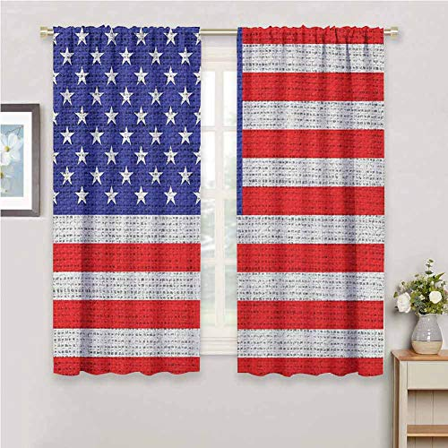 GUUVOR USA Room Darkened Curtain Fourth of July Independence Day Burlap Looking Retro Vintage Country Pastel Color Insulated Room Bedroom Darkened Curtains W72 x L72 Inch Blue Red White