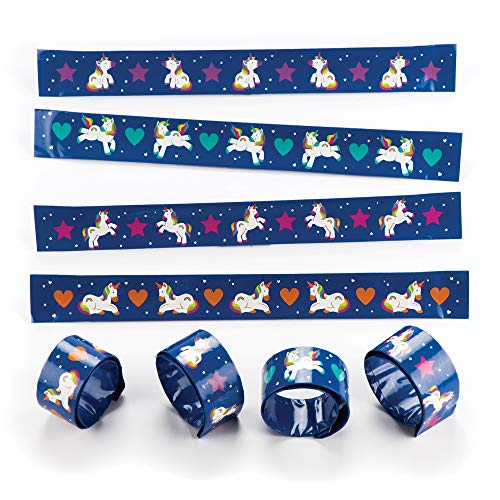 Baker Ross AR584 Rainbow Unicorn Slap Bracelets (Pack of 4) Snap-On Bracelets for Kids Party Bag Filler