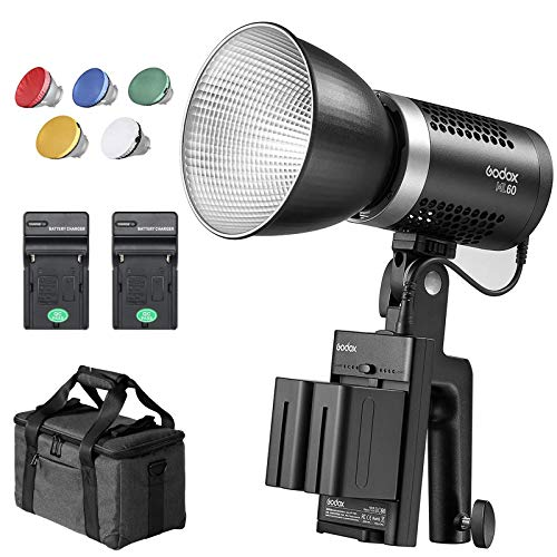 Godox ML60 60W LED Light,Portable Handheld LED Light,8 FX Effects,CRI 96+/TLCI 97+,Ultra Quiet Fan,with NP-F970 Battery + Charger