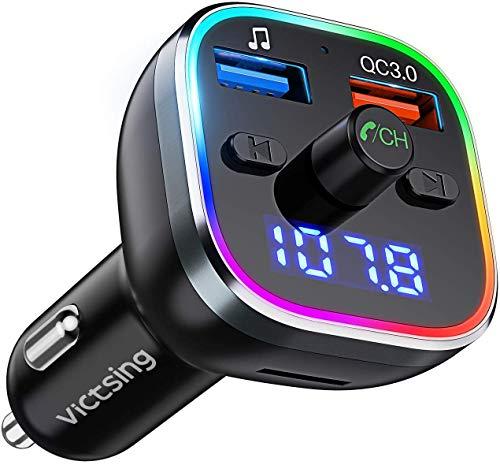 VicTsing Trasmettitore Bluetooth per Auto, 6 Led Controluce, 2 Porti Usb QC3.0&5V/1, Bluetooth 5.0, Chiamata in Vivavoce, Supporto U Disk/TF Card