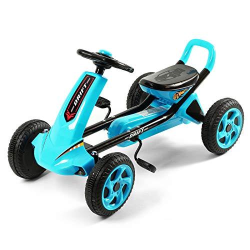 Pedal Go Kart Con Anti-pneumatici Skid,Auto A Pedale A 4 Ruote Su Pedale Giocattolo Per Ragazze,Go Kart Per I Bambini-Blu