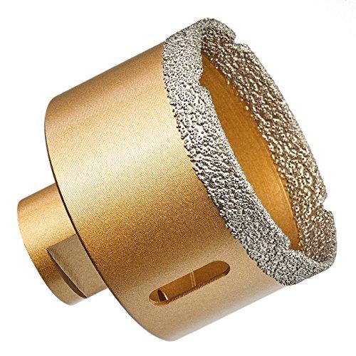GraniFix Broca de diamante de 70 mm de diámetro M14, corona de perforación para azulejos, en seco, corona de diamante para amoladora angular, amoladora de corte