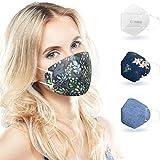 ALB Stoffe® CoverMe - 3 Cover HeiQ-Viroblock mit Halbmaske, MIX 2, 100% Made in Germany, Nasen-Mund-Masken, 3+1er Pack