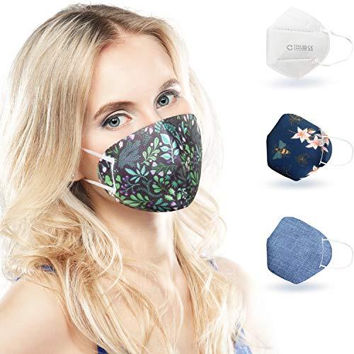 ALB Stoffe® CoverMe - 3 FFP2 Cover HeiQ-Viroblock mit Maske, MIX 2, 100% Made in Germany, FFP2 Maske farbig & bunt, 3+1er Pack