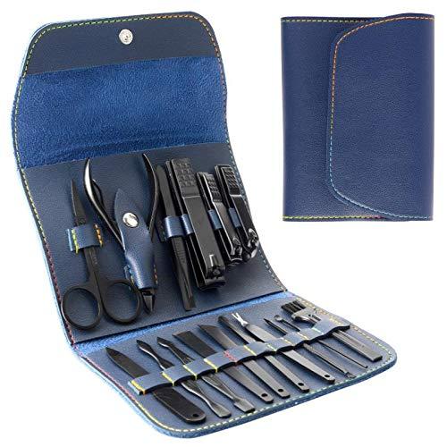 Kit manicure pedicure professionale in acciaio inox kit pedicure forbici per unghie pedicure portatile da viaggio manicure pedicure kit di strumenti per uomini donne con custodia in pelle PU(blu)
